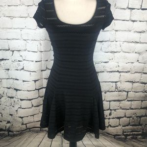 Guess • Black Open-Knit Short Sleeve Dress XS